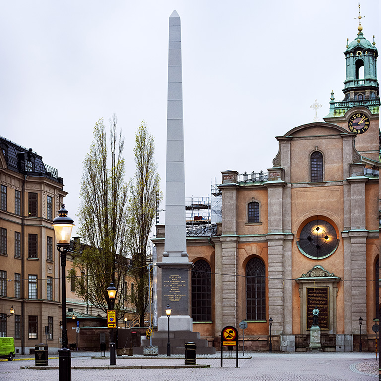 Obelisken, TOSSENE Grå Bohus, Krysshamrad/Polerad, Slottsbacken Stockholm, Hallindens Granit AB